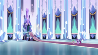 Twilight and Spike approaching the throne S3E2