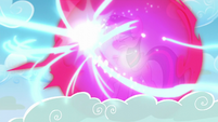 Twilight and Spike protected by bubble shield from Starlight's beam S5E26