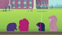 Applejack and Rainbow Dash arguing in background EG