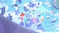 Mane Six's cutie marks hover over the map S8E15