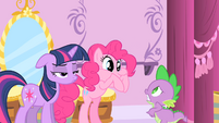 Pinkie Pie covers her mouth S1E20