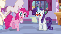 Pinkie asks Rarity what she got S5E14