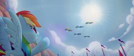 Rainbow Dash watching the Wonderbolts MLPTM