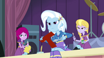Trixie and friends glaring at Sunset EG2