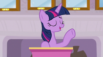 Twilight announcing the Teacher of the Month S8E9