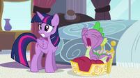 Worried Princess Twilight and yawning Spike S4E01