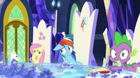 Fluttershy, Rainbow, and Spike listen to Twilight S8E2