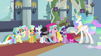 Main 6 and Spike looking at Celestia S2E26