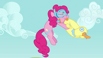 Pinkie Pie floating whilst blowing up floater S3E3
