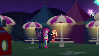Sunset, Twi, and Pinkie in festival eating area EGSBP