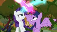 Twilight and Rarity blasting their magic S9E2