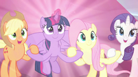 """AJ and Rarity declare """"for our families!"""" S9E2"""