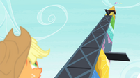 Applejack looking at high diving tower S4E20