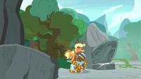 Applejack saves Rockhoof from a falling boulder S7E25