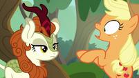 Applejack surprised by Autumn Blaze S8E23