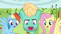 Fluttershy, Zephyr, and Rainbow singing together S6E11