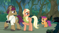 Scootaloo grins at parents with embarrassment S9E12