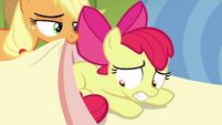 Apple Bloom worried while AJ puts a blanket over her S5E04