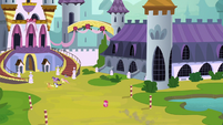 Pinkie Pie tumbling behind her friends S9E1