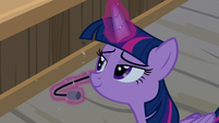 Twilight Sparkle wearing Iron Will's headset S7E22