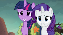 Twilight and Rarity embarrassed grin S6E5