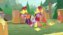 Twilight and Spike covered in fruit S9E5