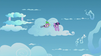 Twilight and Spike sneaking around the cloud S5E25
