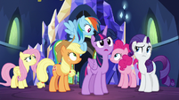 Twilight and her friends look very surprised S7E26