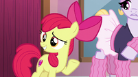 Apple Bloom waving to Tender Taps S6E4