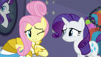 Fluttershy winking at Rarity S8E4