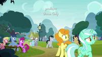 Ponies hear Pinkie's yovidaphone playing S8E18