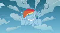 Rainbow Dash flying with a big grin S5E25
