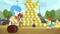 Rodeo clowns appear on the field S5E6