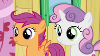 Scootaloo and Sweetie Belle listen to Apple Bloom S9E12