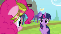 Twilight and Pinkie looking at each other S4E10