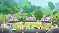 Wide view of Magic-Friendship buckball game S9E15