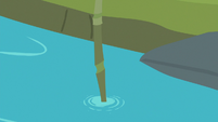 Bamboo straw sticking out of the pond S9E18