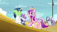 Cadance tells Shining Armor to take Flurry below deck S7E22