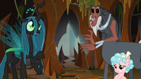 Chrysalis, Tirek, and Cozy surprised to see Sombra S9E1