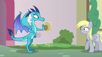 Derpy backing away from Princess Ember S7E15