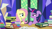 Fluttershy hopeful; Twilight Sparkle exhausted S7E20