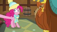 Pinkie Pie grabbing something off-screen MLPBGE