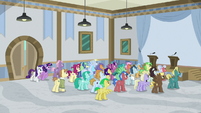 Ponies gathered in the university lobby S8E16