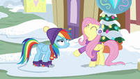 Rainbow annoyed by Fluttershy's answer MLPBGE