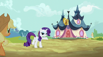 Rarity leads Applejack to the spa S6E10