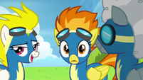 Spitfire notices Rainbow on the runway S6E7