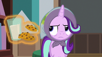 Starlight Glimmer looking at milk and cookies S8E8