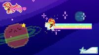 Sunset riding a unicorn in 8-bit CYOE12a