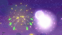 Fireworks exploding in the night sky S9E17