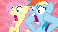 Fluttershy and Rainbow screaming S4E22